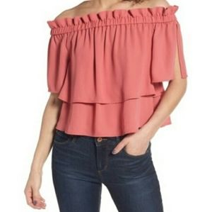 Leith coral ruffle off the shoulder blouse